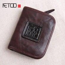 20ad55839 AETOO hecho a mano corto de cuero billetera masculina cremallera vertical  hebilla capa de cuero retro