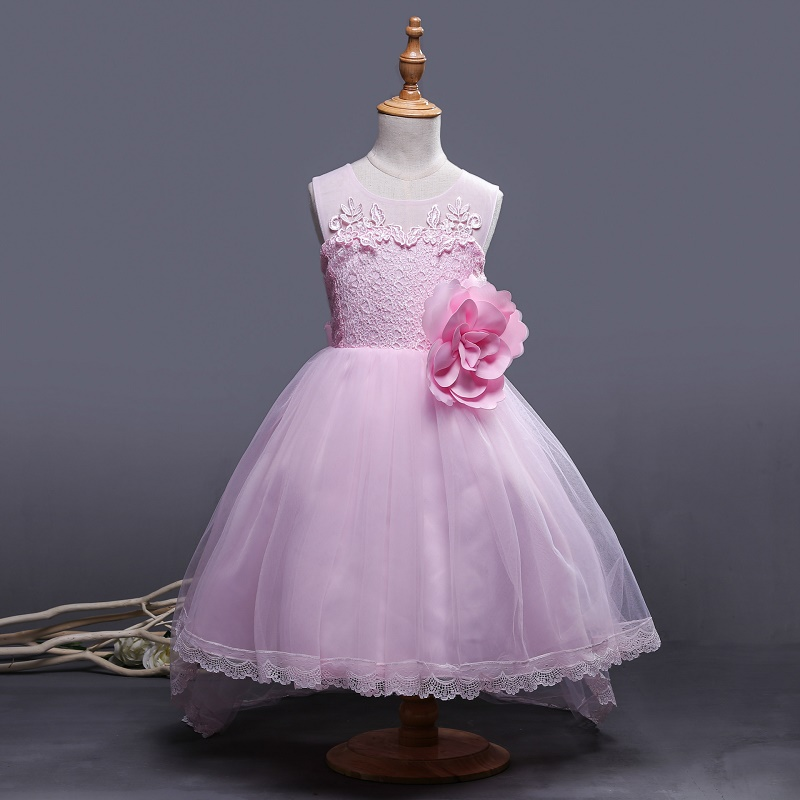 High Quality Girls Clothes Big flowers Princess Children Lace Bridemaid Dress For Wedding Girls 3-10 Years Party Prom Dresses