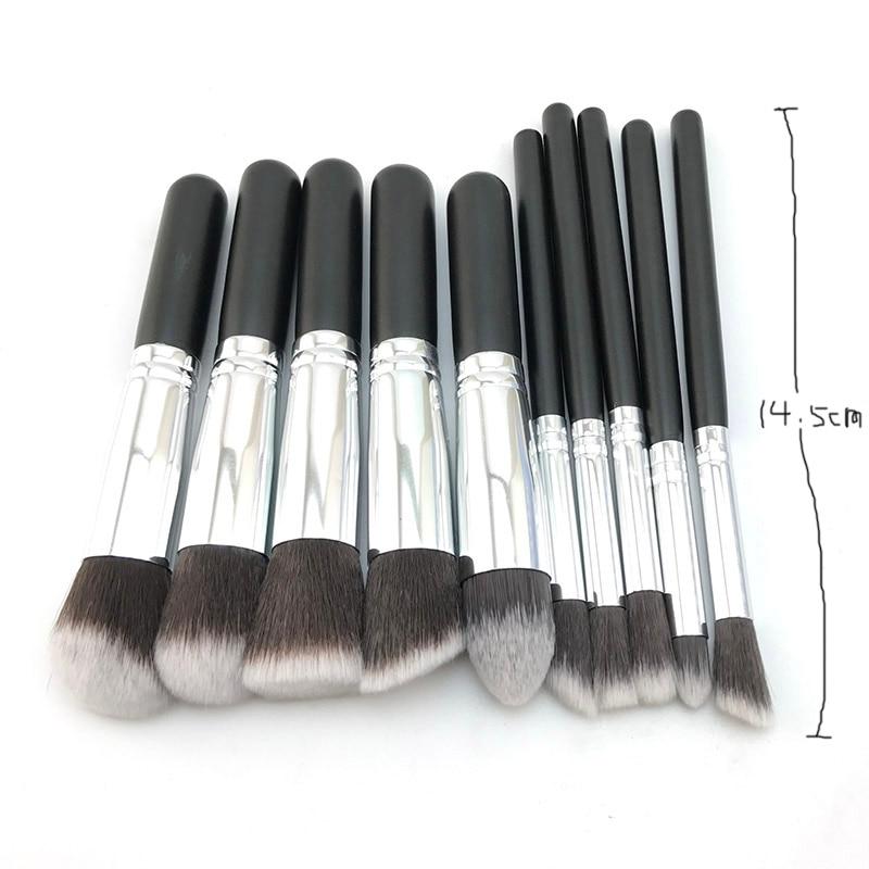 10 stk. Sølv / gyldne makeup børster sæt pincel maquiagem kosmetik - Makeup - Foto 6
