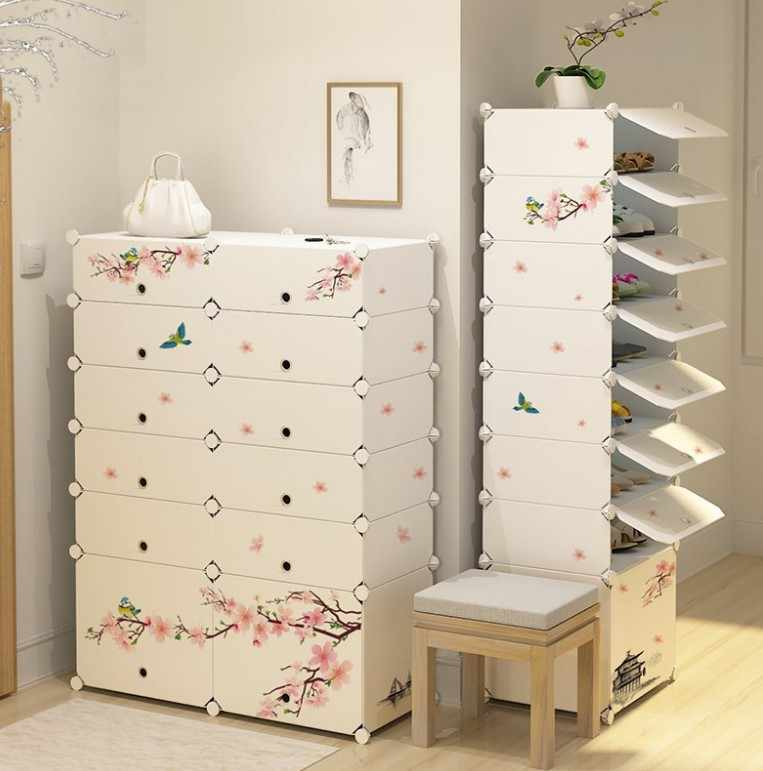 Modern Shoe rack Plastic Metal Large shoe Boots cabinet organizer hallway shoe Boot storage Shoes Shelves home furniture B497