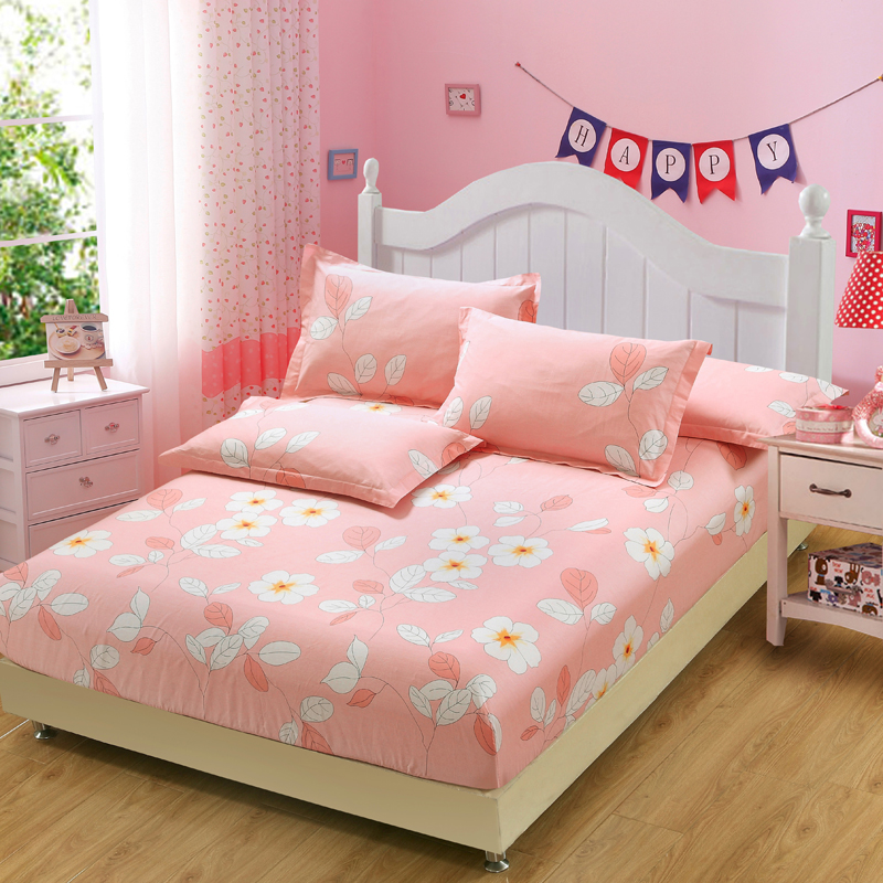 100% Cotton Cartoon Cute Pink Flower Bed Sheets Fitted Sheet Elastic  Mattress Cover Bed Linen