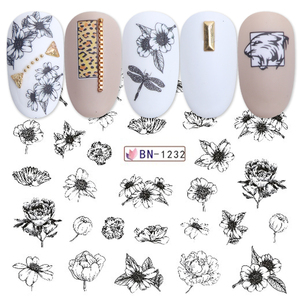 Image 3 - 36 個ミックスレター黒スライダー爪ステッカーセット混合の花の水転写デカールマニキュアの装飾のヒントラップ CH974