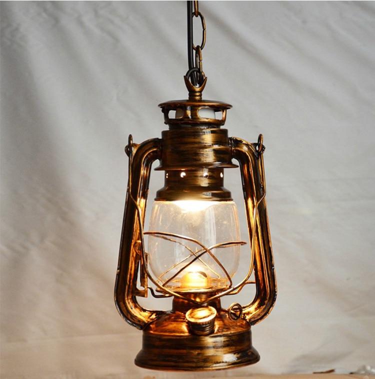 American Countryside Retro Brief Vintage Nostalgi Lantern Kerosene Pendant Lights Lamp E27 Base Antique Cinnamon