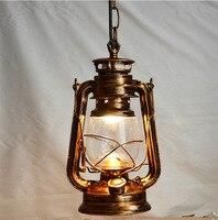American Countryside Retro Brief Vintage Nostalgi Lantern Kerosene Pendant Lights Lamp E27 Lamp Base Antique Cinnamon