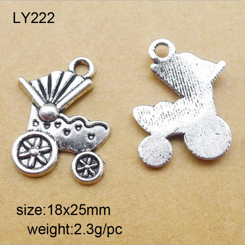 18x25mm Antique Silver Zinc Alloy Baby Stroller Charms Pendant Fit For Jewelry Making 25PCS/lot
