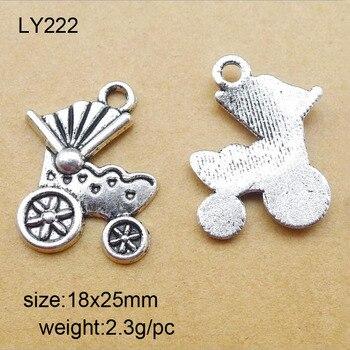 18x25mm plata antigua aleación de Zinc cochecito de bebé dijes colgante apto para fabricación de joyas 25 unids/lote