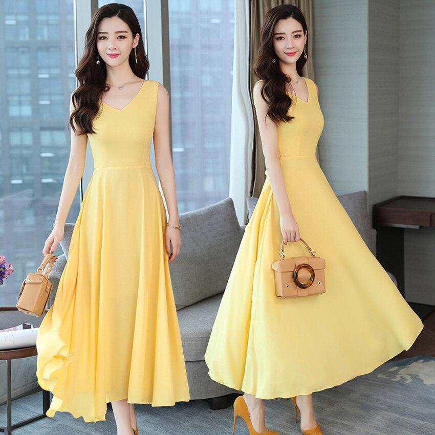 Summer Sleeveless Long Maxi Dress Yellow sundress Boho 2018 Elegant Women club Midi dresses Party Vintage Sexy Dress Vestidos