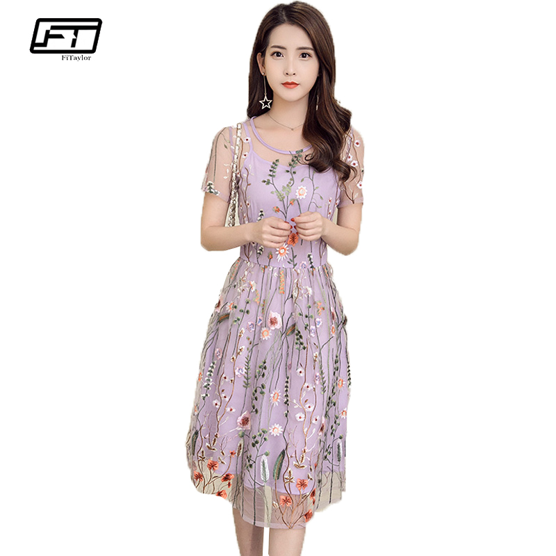 Fitaylor 2017 Summer Mesh Embroidery Sexy Women Dress O Neck Short Sleeve Evening Party Dresses Fashion Casual Floral Dress