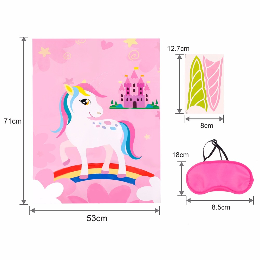 FENGRISE Pink Unicorn Party Game Supplies Birthday Party Decorations Kids Baby Shower Unicorn Decorative Festive Party Home Game in Party DIY Decorations from Home Garden