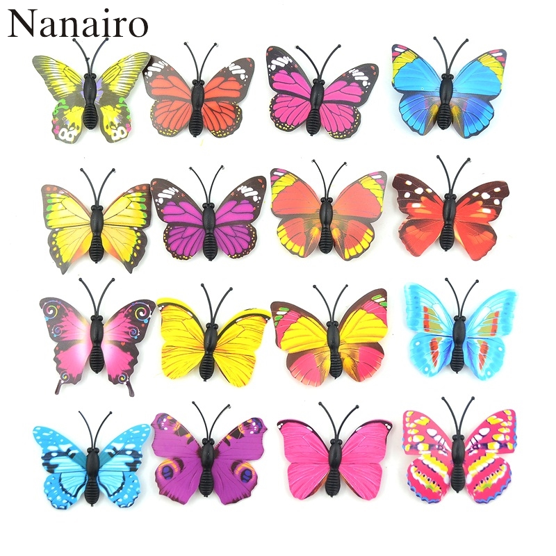 12Pcs DIY Lifelike 3D Multicolor PVC Butterfly Fridge Wall Stickers Kids Baby Rooms Kitchen Home Decoration Adhesive to Wall