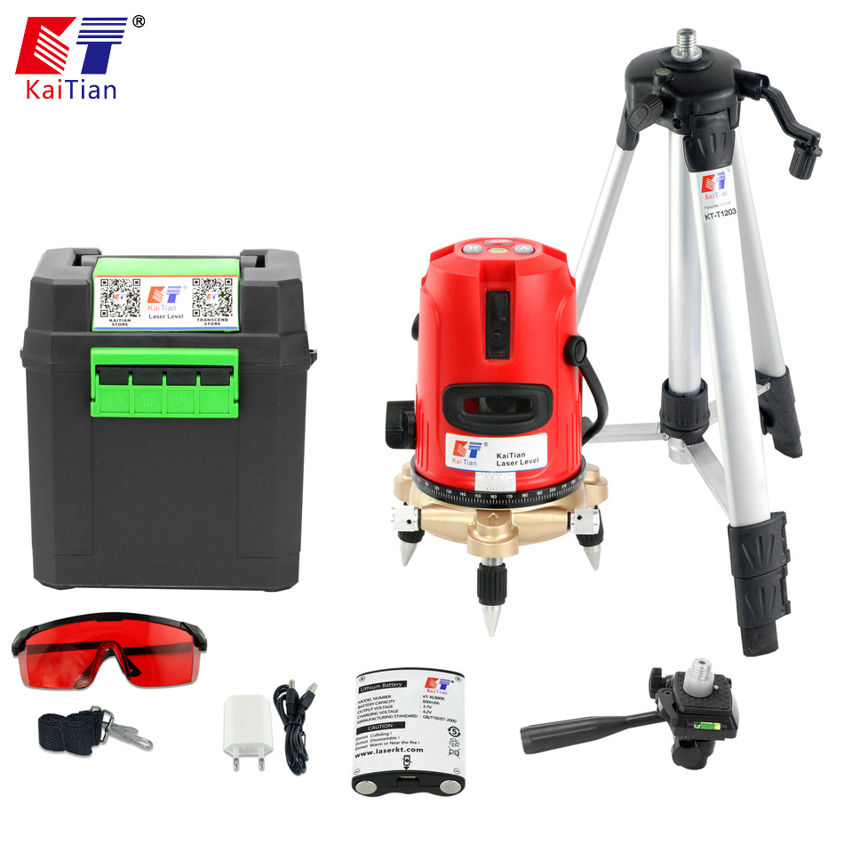 Kaitian Laser Level 5 Lines Nivel Laser Tripod for Level 360 Rotary Bracket Vertical Horizontal Lasers Lines Construction Tools kaitian green laser level 12 lines 3d nivel laser line 360 rotary construction tools tripod 5 8 receiver bracket for lazer level