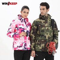 2019 New Women Winter Outdoor Hiking Windbreaker Jacket Camping Fishing Camo Printed Male Hoody Thermal Ski Coat Plus Size 5XL