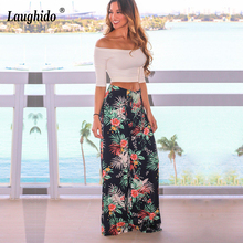 Laughido Casual Floral Print Pants Lace Up High Waist Wide L