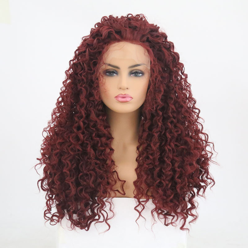 Charisma Kinky Curly Wig Synthetic Lace Front Wig Heat Resistant Red Wigs with Baby Hair 180