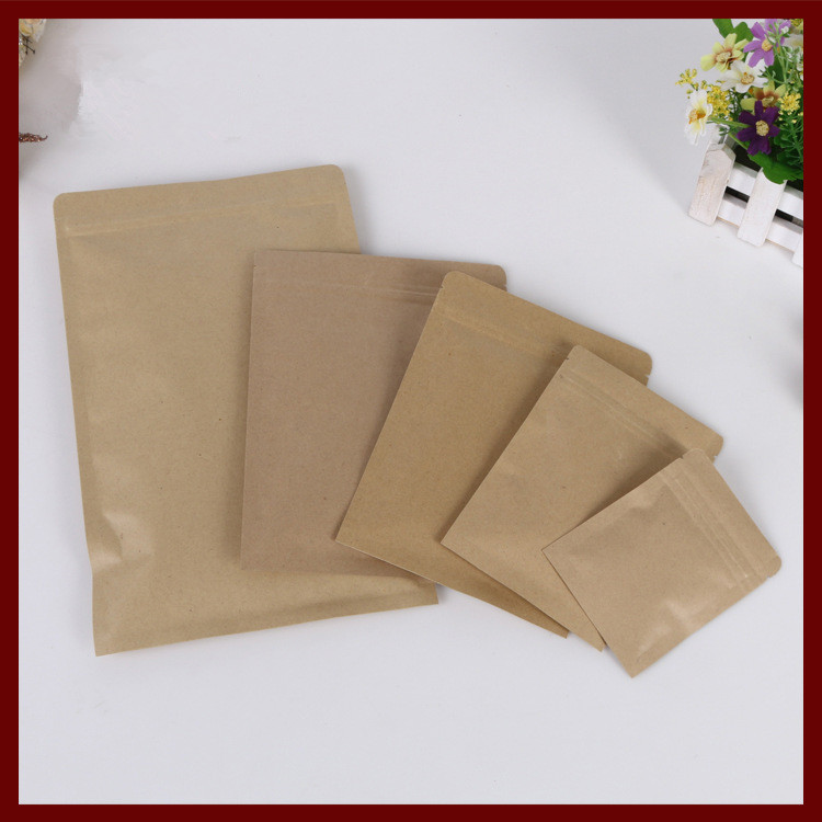 100pcs/lot Flat Brown Kraft Paper Bag No Window Not Stand Up Zipper/zip Lock Jewelry Packaging Bag Paper Bags For Gifts/tea Bags