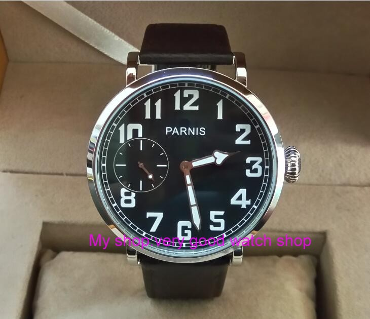 46mm parnis Black dial Asian 6497 17 jewels Mechanical Hand Wind movement men watch Leather Watchband Mechanical watches xj2 limited edition watch 50mm big dial parnis men s watch asian 6498 mechanical hand wind pvd black watchcase 84aa