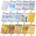 10 Folhas Brilho Estrelado Céu Folha de Prego Unha Holográfica Adesivos de Papel Decorações Nail Art 4*13 cm #1-15
