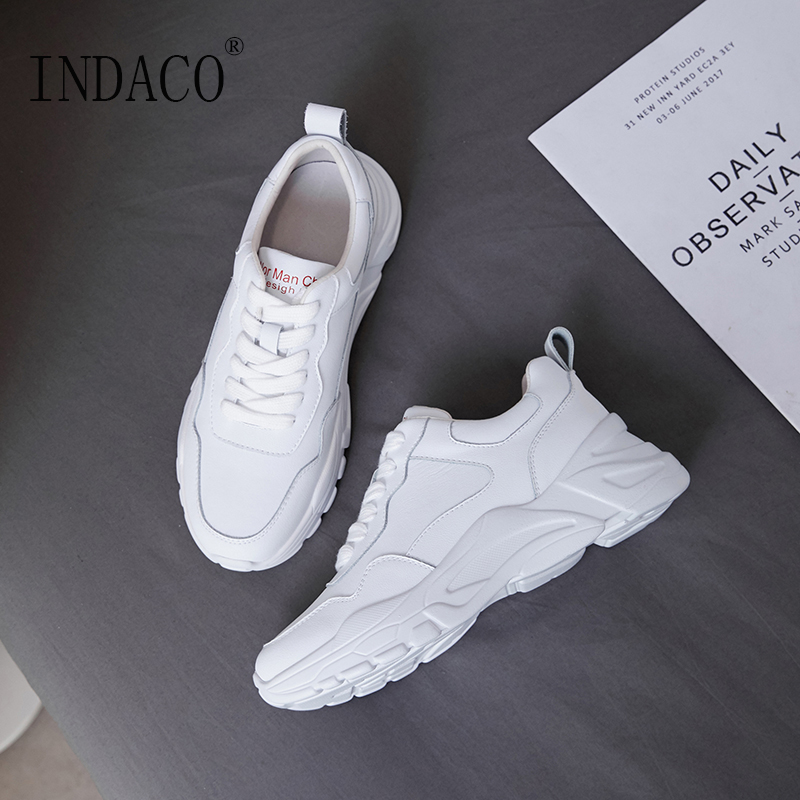 Buty kobieta 2019 trampki damskie skórzane białe przypadkowi buty 5 cm w Damskie buty z gumową podeszwą od Buty na  Grupa 3