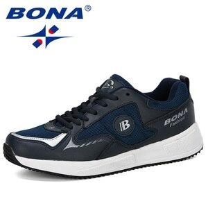 Image 4 - Мужские классические кроссовки BONA, уличные спортивные дышащие кроссовки из коровьего спилка для бега, прогулок и занятий спортом, 2019