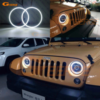For Jeep Wrangler CJ TJ JK 7 Headlamp Excellent Ultra bright illumination smd led Angel Eyes Halo Ring kit DRL