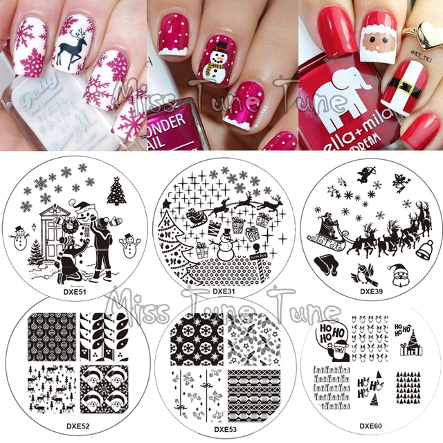 30 Styles Christmas Nail Stamping Templates Stamp Plate Image ...