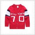 2017 красный хлопок вязаный свитер свитер кардиган дети Осень зима снаряжение новых ребенок v-образным вырезом 70 слов досуг пальто