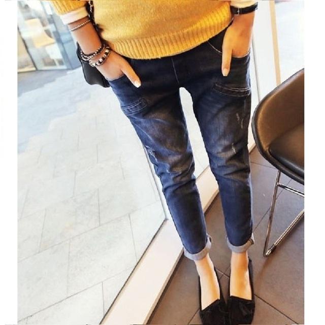 2016 nova primavera maternidade Frisando calças jeans da moda maternidade mulheres Grávidas importo calças barriga casuais Quente