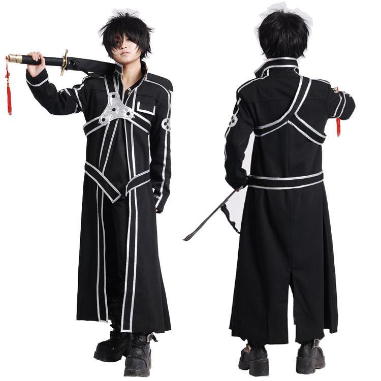 Sword Art Online SAO Kirito Kirigaya Kazuto Cosplay Costumes Long Overcoat Black Cloak