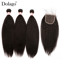 Kinky Straight Hair With Closure 3 Coarse Yaki Brazilian Human Hair Weave Bundles With Closure Remy Dolago Hair Products