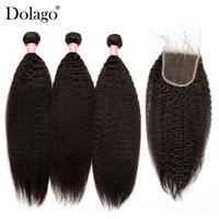 Kinky Straight Hair With Closure 3 Coarse Yaki Brazilian Human Hair Weave Bundles With Closure Remy Dolago Hair Products