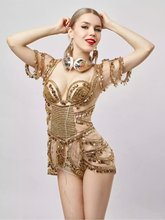 Gold Sexy Perspective Bodysuit Dance Wear Two Piece Outfit Women's Party Dress Female Singer Sequins Costume Bra Clothing Set