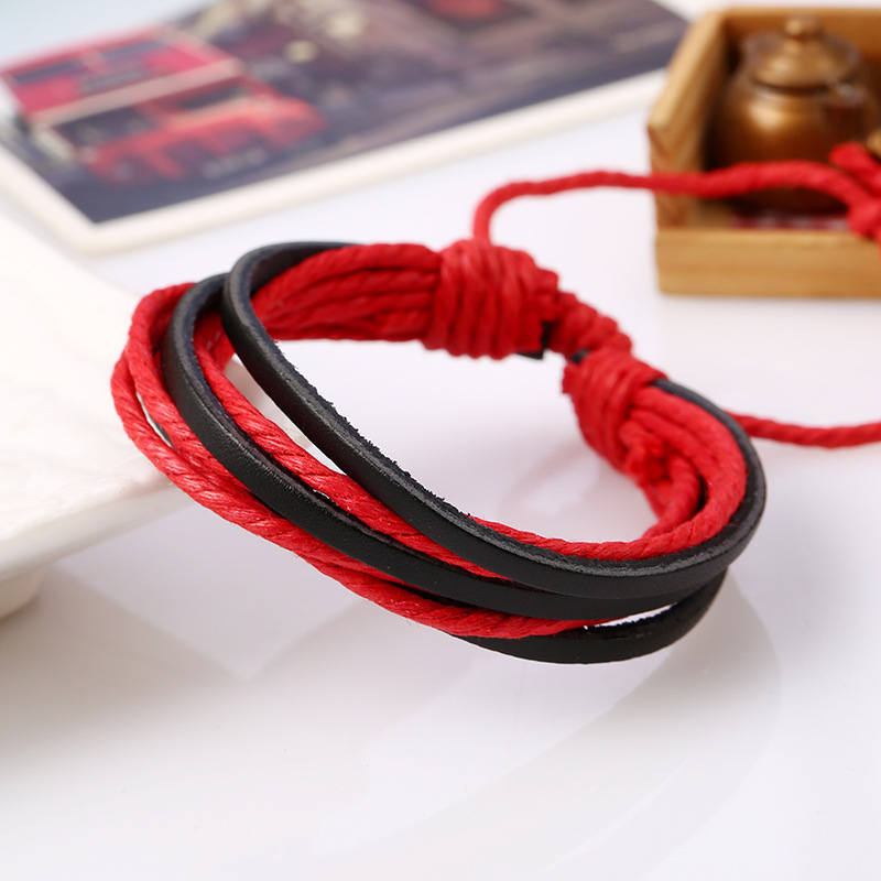 Fashion New Year Red Bracelets Multilayers Wrap Ropes Bracelets Pulseras Jewelry For Women