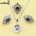Multicolor Stone Created Topaz Jewelry Set 925 Silver Overlay Earrings Ring Necklace Pendant For Women Free Shipping & Gift Box