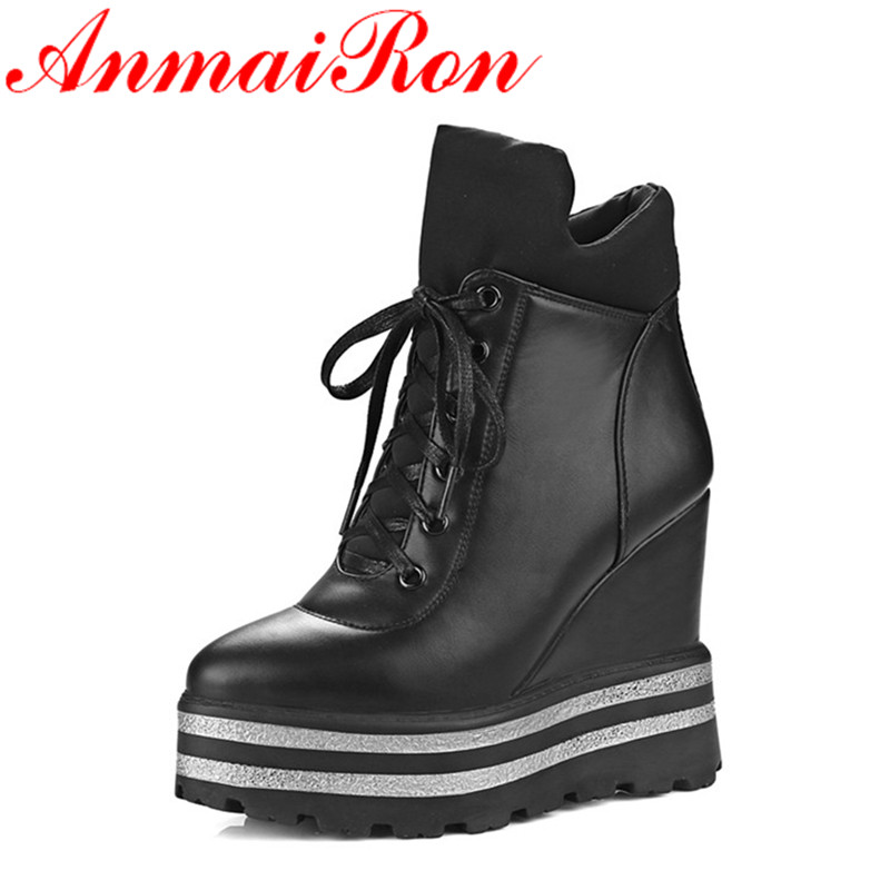 ANMAIRON Fashion High Heels Wedges Ankle Boots Women Winter Warm Boots Platform Shoes Round Toe Short Plush Lace-up Shoes WomenANMAIRON Fashion High Heels Wedges Ankle Boots Women Winter Warm Boots Platform Shoes Round Toe Short Plush Lace-up Shoes Women