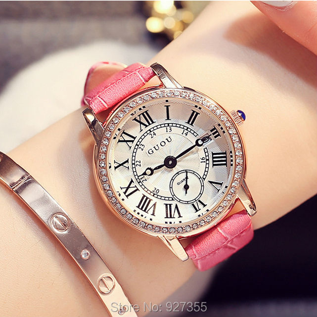 2017 New GUOU Women Watch Fashion Brand Female Clock Calendar Display Real Leather Strap Waterproof Wristwatches Hot Sale real amount of ceramic fashion set auger waterproof quality precision rotary calendar watch brand man woman a good watch
