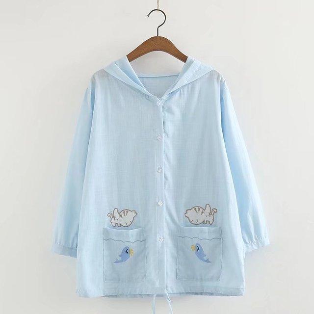 Mori Girl Casual White Shirts For Women Summer Japanese Cute Cat Pockets Cardigan Korean Vintage Button Kawaii Blue Clothes