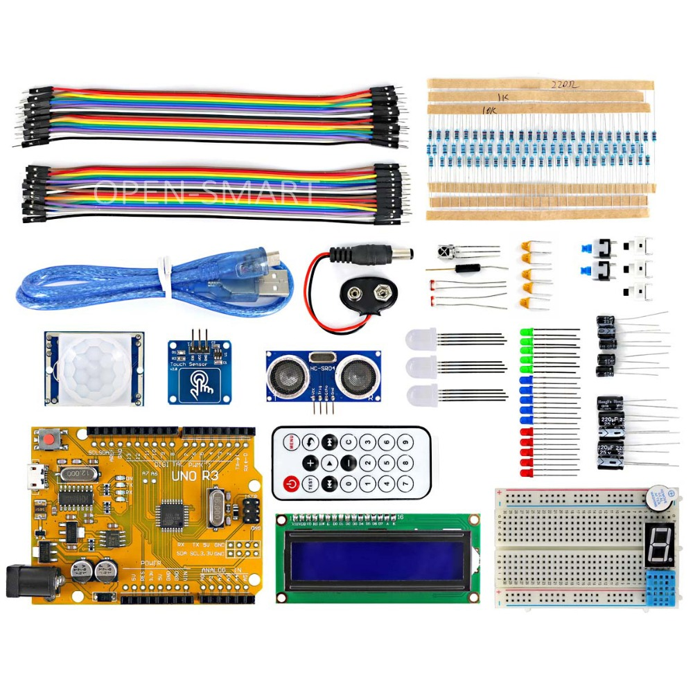 OPEN-SMART Micro USB UNO R3 BreadBoard Advance Kit With Touch Sensors / PIR Motion / LCD Display Module / Tutorial For Arduino