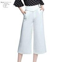 Centelha Women Casual Pants White Loose High Waist Wide Leg Trousers Office Work Women BaElaggy Pants