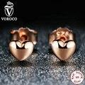 Clásica Plata de Ley 925 Corazones Petite, Oro de Rose Plateado Push-back Femenino Pequeño Stud Pendientes Joyería Compatible con VRC
