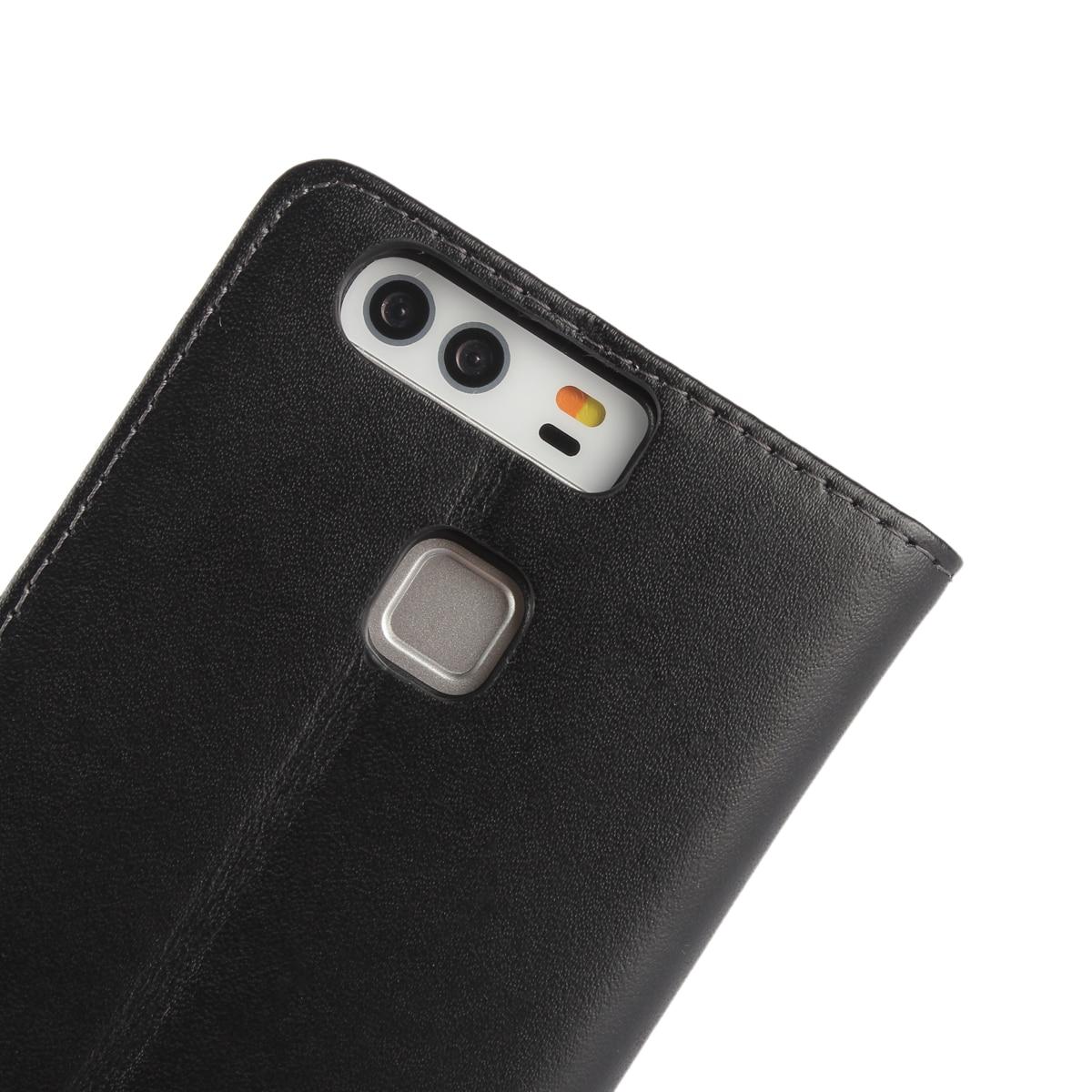 Väska till Huawei P9 täcka Premium PU-läderplånbok Väska Flip - Reservdelar och tillbehör för mobiltelefoner - Foto 2