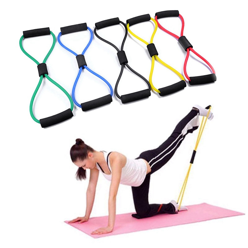 8 Word Yoga Training Elastic Band Rope Fitness Rubber Bands Rope Exercise Stretch Expander Workout