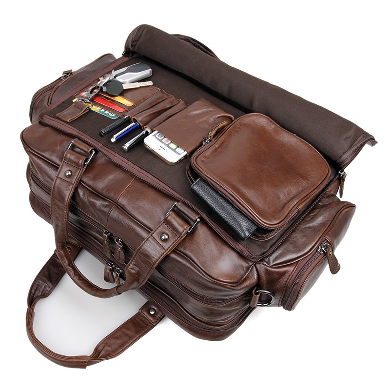 """Men's genuine leather briefcase 16"""" Big real leather laptop tote bag Cow leather business bag double layer messenger bag"""