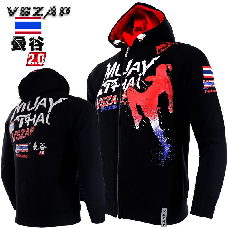 VSZAP MUAY THAI Fight Fitness Long Sleeve Plus Velvet Hooded Sweatshirts MMA