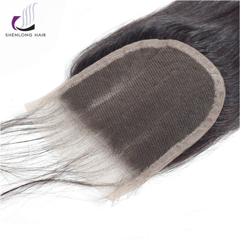 SHENLONG HAIR 4 * 4 Mongolian Straight Lce Closure Mänskligt Hår - Mänskligt hår (svart) - Foto 5