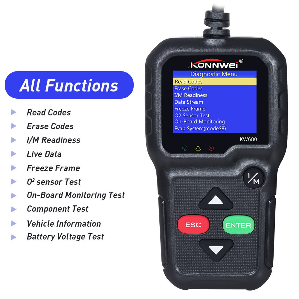 Hot sell Car Diagnosis Scanner KW680 Full OBD Function code reader ...