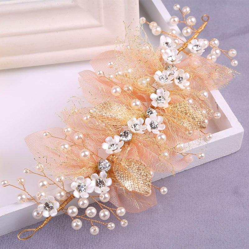 hecho a mano de flores tocados de boda nupcial de la perla y crystal diademas para