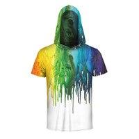 Hip Hop Komik Çuha Yaz T-shirt Mens Kısa Kollu tişörtleri Için marka Sıçrama Boya 3D Şapka Ile Kapüşonlu Tişörtlü Tees Tops
