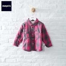 Mayas Winter Thickening Pink Boys Shirts Plaid Warm Turn Down Collar Tops Children Girls New Fashion Printed Cotton Shirt 84003(China)