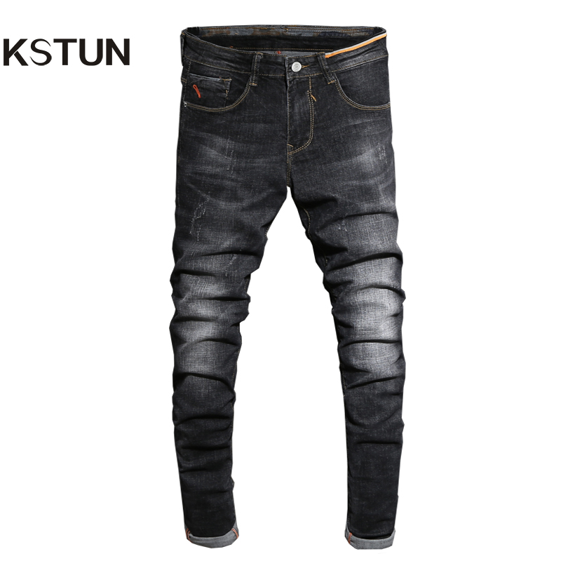 2017 Autumn Jeans Men Black Skinny Denim Pants Fashion Desinger Clothing Cotton High Stretch Slim Fit Long Trousers Man Homme 38 men s cowboy jeans fashion blue jeans pant men plus sizes regular slim fit denim jean pants male high quality brand jeans
