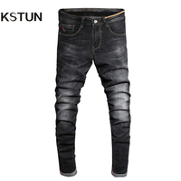 KSTUN Men's Jeans Korean Style Thin Cotton Ripped Distressed Painted Denim Jean Man Jogger Hiphop Broken Jeans Length 90cm-97cm 14